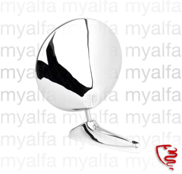 DOOR MIRROR CHROME ROUND ALFA BADGE INCLUDING RUBBER PAD