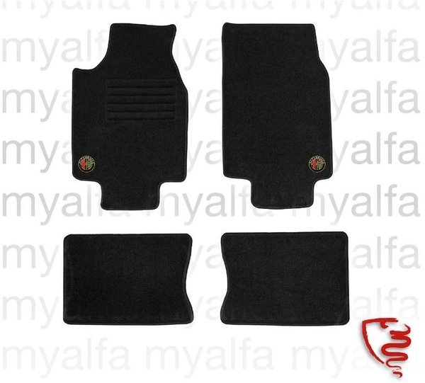 FOOT MAT SET ALFA 75, BLACK, FINEVELOURS, EMBLEM    EMBROIDERED