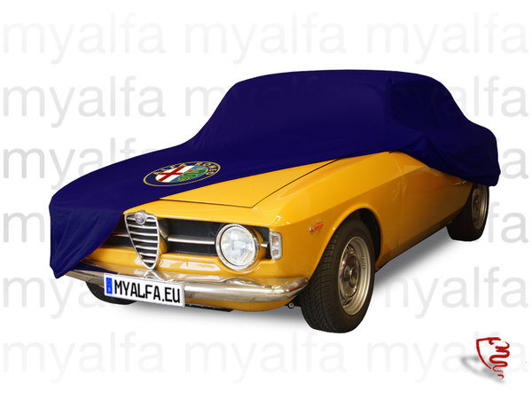 CAR COVER - GT BERTONE MADE   TO MEASURE, BLUE WITH ALFA    ROMEO LOGO,INCL. BAG INDOOR