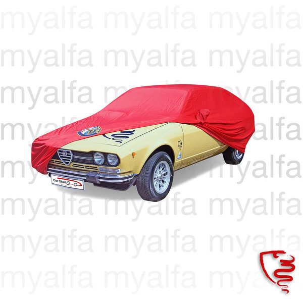 CAR COVER ALFETTA GT/GTV/GTV6 INDOOR, RED WITH AR-LOGO AND BAG