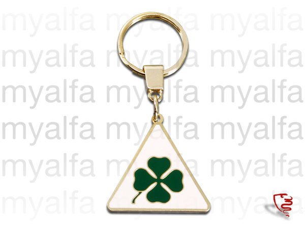 KEYRING TRIANGOLO WITH ALFA   ROMEO AND SHAMROCK SIGN