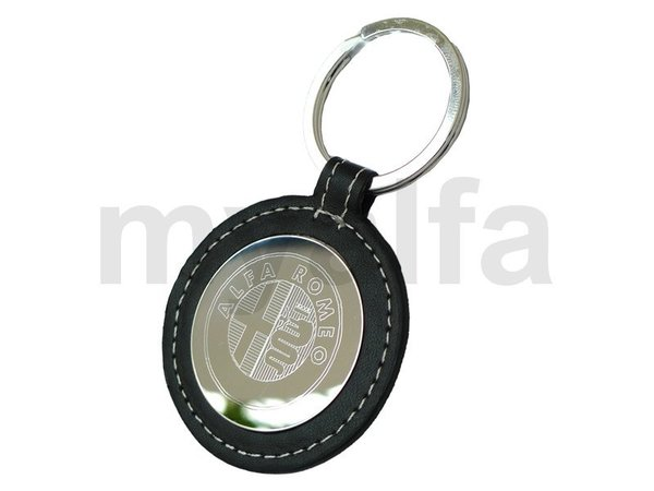 "KEYRING ""ARGENTO"", LEATHER    BLACK WITH CHROMED AR-LOGO"